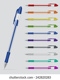 Raster version. Set of colorful gel pens with open caps isolated on white background