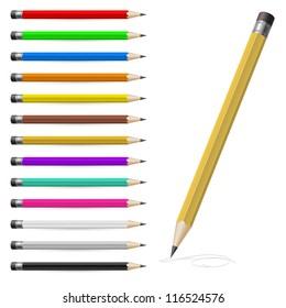 Raster version. Set of Coloured pencils. Illustration on white background
