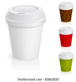 Raster version. Set of takeaway coffee cups. Illustration on white background.
