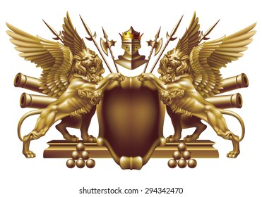Raster version / Shield with winged lions and military attributes on a white background