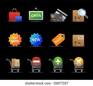 Raster version of shopping icons