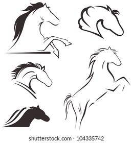 Raster version. Silhouette black horse