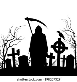 Raster version. Silhouette of the cemetery on the white background.