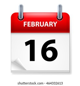 Raster version. Sixteenth February in Calendar icon on white background