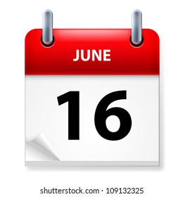 Raster version. Sixteenth June in Calendar icon on white background