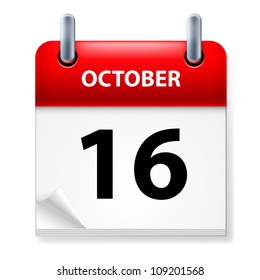 Raster version. Sixteenth October in Calendar icon on white background