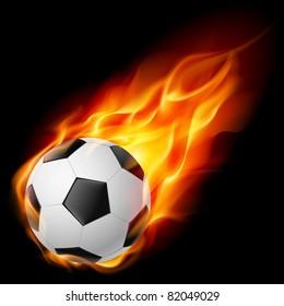 Raster version. Soccer Ball on Fire. Illustration on black background