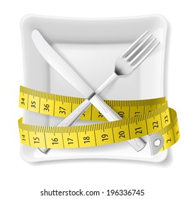 Raster version. Square plate with measuring tape and crossed fork and knife. Diet concept
