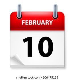 Raster version. Tenth February in Calendar icon on white background