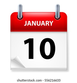 Raster version. Tenth January in Calendar icon on white background