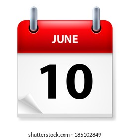 Raster version. Tenth June in Calendar icon on white background