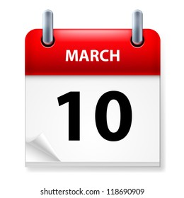 Raster version. Tenth March in Calendar icon on white background