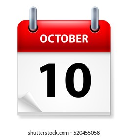 Raster version. Tenth October in Calendar icon on white background