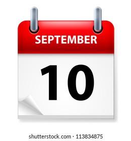 Raster version. Tenth September in Calendar icon on white background