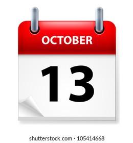 Raster version. Thirteenth October in Calendar icon on white background