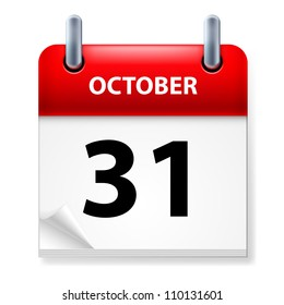 Raster version. Thirty-first October in Calendar icon on white background