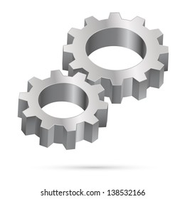 Raster version. Two chrome gearwheel isolated on white background  for design