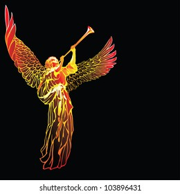 Raster version of vector/ Blowing Angel - on a black background