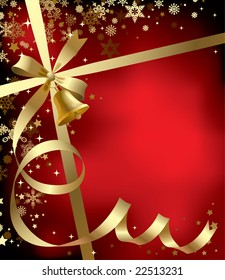 Raster version of vector Christmas & New-Year's greeting background with a gold ribbon