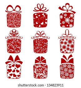 Raster version of vector collection of gift boxes on a white background