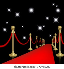 Raster version of vector red carpet with guard.
