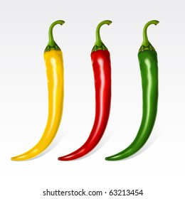 Raster version of vector set of three peppers on the  white background
