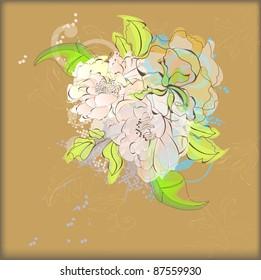 Raster version of vector  Vintage floral background