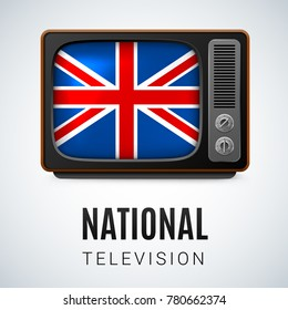 Raster version. Vintage TV and Flag of Great Britain as Symbol National Television. Button with British flag