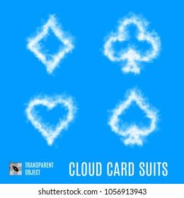 Raster version. White Cloud Shape like Set of Playing Card Symbols on Blue