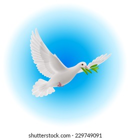 Raster version. White dove flying with olive branch in its beak in blue sky