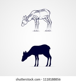 Raster version. Young Deer Silhouette with Sketch Template on Gray Background. Grazing