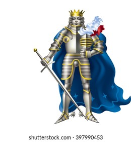 Raster version / The young king in armor on a white background