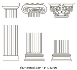 rasterized architectural old-style greece column illustration. bitmap of vector version. see for vector version in my portfolio