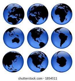 Rasterized pseudo 3d vector globe views