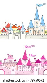 Rasterized version of collection seamless vector background with fantasy castle. Isolated over white