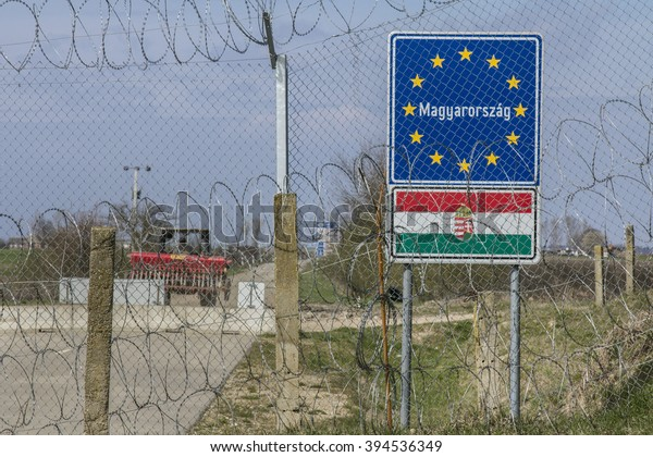 RASTINA, SERBIA - MARCH 19, 2016: Border fence between Rastina (Serbia) and Bacsszentgyorgy (Hungary. This border wall was built in 2015 in order to stop the incoming refugees & migrants.