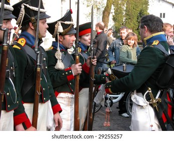 RASZYN - APRIL 18: Participants of Lithuanian soldiery reenact the historical Battle of Raszyn in 1809 April 18, 2009 in Poland.