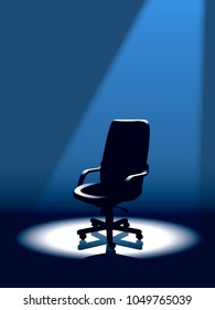 Rat race. Empty chair is waiting for the winner in the competition for a good position in the company.