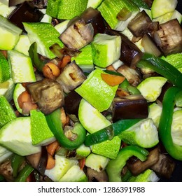 Ratatouille, authentic stew with zucchini, asparagus and paprika. Italian Caponata, top view
