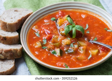 ratatouille with basil and bread slices