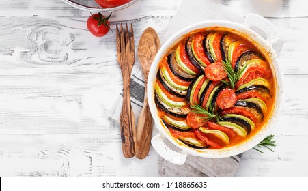 Ratatouille. Traditional French stew of summer vegetables. Ratatouille casserole.