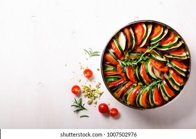 Ratatouille. Traditional homemade vegetable dish. Vegetarian vegan food. Copy space. Banner.