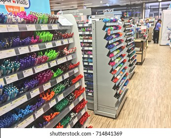 Ratchaburi, Thailand - August 13, 2017: Display of stationery, pen, pencil, ruler in B2S bookstore.  B2S bookstore is a famous bookstore and stationery store in Thailand.