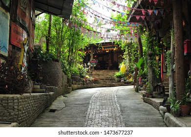 RATCHABURI, THAILAND - August 8, 2019 : Ban Hom Tien is in Suan Phueng district. There are works of art, candles, fragrances in various forms, colorful colors and also an antique shop, fabric store.