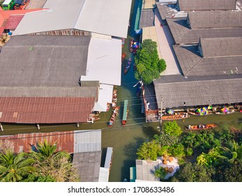 Ratchaburi , Thailand - January, 2020: Ariel view Damnoen Saduak Floating Market old way of life culture in the past that is famous place Ratchaburi in Thailand