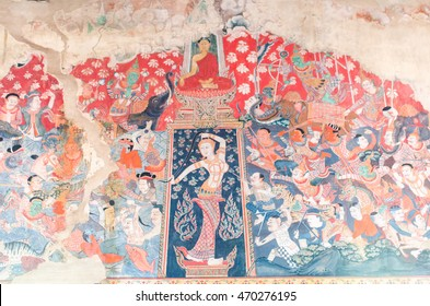 RATCHABURI, THAILAND - July 16, 2016: Traditional Thai mural painting the Life of Buddha and Thai life style on wall of temple in Wat Kongkaram at Ratchaburi, Thailand on July 16, 2016