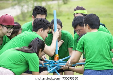 RATCHABURI THAILAND - JUN 12, 2015 : Young people playing on a team for Team building on June 12, 2015 in Ratchaburi, Thailand