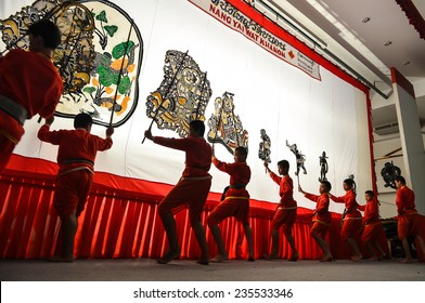 RATCHABURI, THAILAND - SEPTEMBER 6 : Nang yai Thai traditional shadow puppet at Wat Khanon Temple September 6, 2014 in Ratchaburi, Thailand.