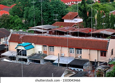 RATCHABURI-THAILAND-SEPTEMBER 16 Detail of the local town on top view in sunset, September 16, 2017 Ratchaburi Province, Thailand.