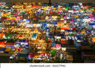 Ratchada Night Market Night in Bangkok Thailand , Talad Rod Fai Night Market.
